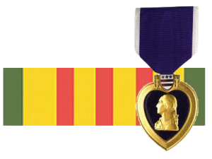 Purple Heart Ribbon and Vietnam War Ribbon